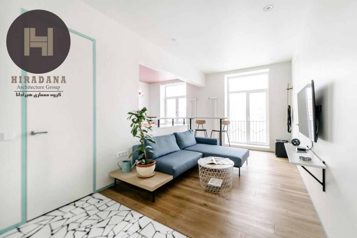 بازسازی و طراحی خانه 50 متری در مسکو روسیه